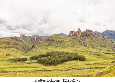 GARDEN CASTLE, SOUTH AFRICA - MARCH 25, 2018: Hermits Wood Camp at Garden Castle in the Kwazulu-Natal Drakensberg near Underberg