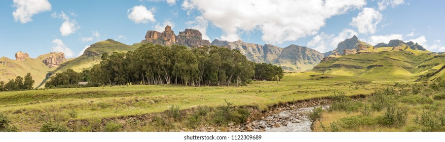 GARDEN CASTLE, SOUTH AFRICA - MARCH 25, 2018: Garden Castle in the Drakensberg. Hermits Wood Camp is between the trees and the Mlambonja River in front. Rhino peak is to the right