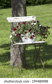 Garden chair with floral decoration