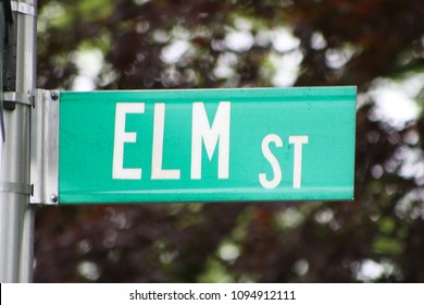 Garden City, New York, USA - May 19, 2018: Elm Street Sign