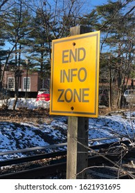 Garden City, New York, USA - January 20, 2020: End Info Zone sign