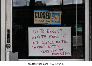 Garden City, New York / USA - March 16, 2020: Small Business Sign
