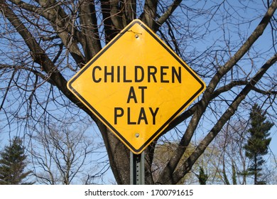 Garden City, New York, USA - April 11, 2020: Children at Play Sign