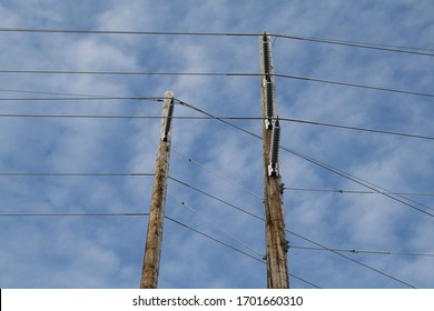 Garden City, New York, USA: April 12, 2020: Utility Power Poles and Wires