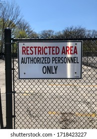 Garden City, New York, USA - April 28, 2020: Restricted Area Sign
