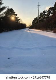 Garden City, New York, USA - February 5, 2021: Snow Covered Track