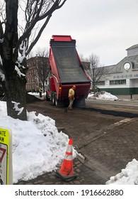 Garden City, New York, USA - February 11, 2021: Road Crew At Work