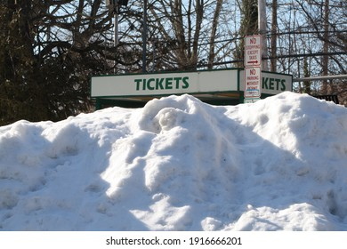 Garden City, New York, USA - February 6, 2021: Snow Mound in Front of Ticket Booth