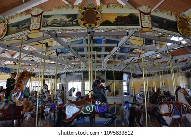 GARDEN CITY, NY - APR 22: Historic Nunley's Carousel on Museum Row in Garden City on Long Island in New York, USA, as seen on Apr 22, 2018.