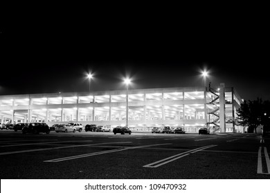 GARDEN CITY, NY - JULY 18: Parking garage at night at historical Roosevelt Field Mall, Garden City, NY on July 18, 2011.  Charles Lindbergh made his historic transatlantic solo flight from this site.