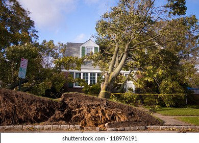 GARDEN CITY, NY - OCT 31: Fallen tree on home after Hurricane Sandy in Garden City, NY on Oct 31, 2012.  Sandy struck New York on Oct 29th leaving the area in a State of Emergency.