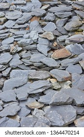 Garden coffering with broken grey slate, stone. Abstract. Suitable for texture and background. Shallow depth of field.