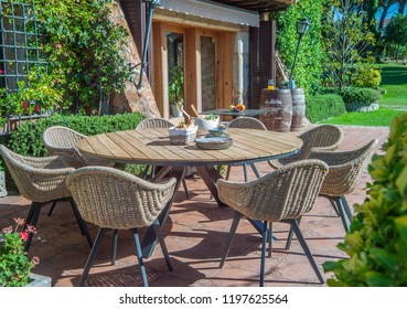 garden dining table with chairs.