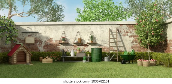 Garden with dog house ,trees and gardening tools - 3d rendering