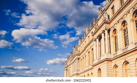 The garden facade of the Palace of Versailles, a royal château in Versailles, France