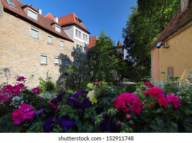 Garden with flowers in a German town Rothenburg