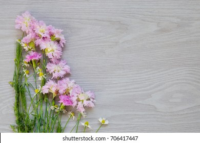 Garden flowers on gray wooden background. Image for greeting card with copy space. Spring flowers for flower background. Mothers day concept.