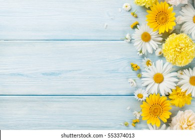 Garden flowers over blue wooden table background. Backdrop with copy space
