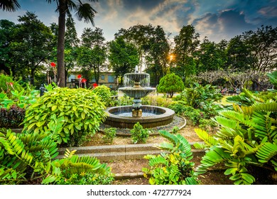 Garden and fountain at Fort Santiago, in Intramuros, Manila, The Philippines.