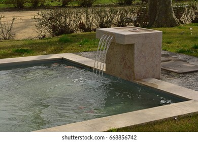 Garden fountain with lake made of marble