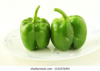 garden fresh isolated green pepper in white background
