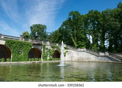 Garden in front of Orangery Palace in Sanssouci park in Potsdam, Germany