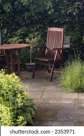 Garden furniture with chair and table i redwood