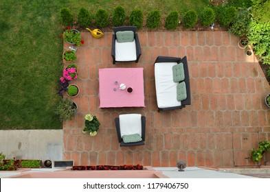 Garden furniture in a garden shot from above - bird's-eye view