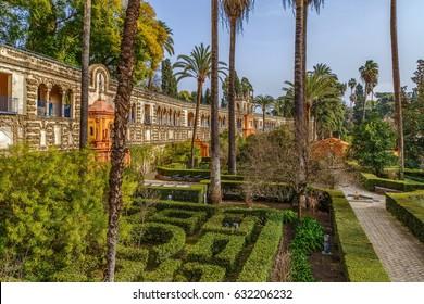 Garden and Gallery of Grutescos in Alcazar of Seville , Spain