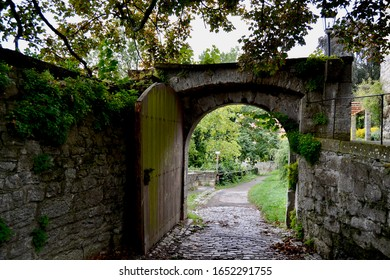 Garden Gate in old Medieval Walled City of Rothenburg ob der Tauber Germany