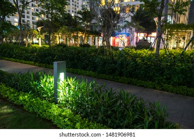 Garden glowing decoration light in the park at night with walkway