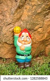 A garden gnome in a garden