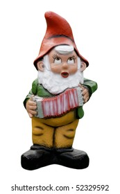 garden gnome with accordion isolated on white background