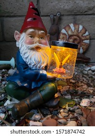 Garden Gnome holding a Bright Firefly