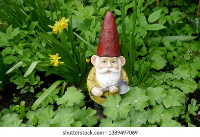 Garden gnome with red hat and an ax in hand between green plants.  (This sculpture has no recognizable mark, logos, no reference to the manufacturer and is not copyrighted)