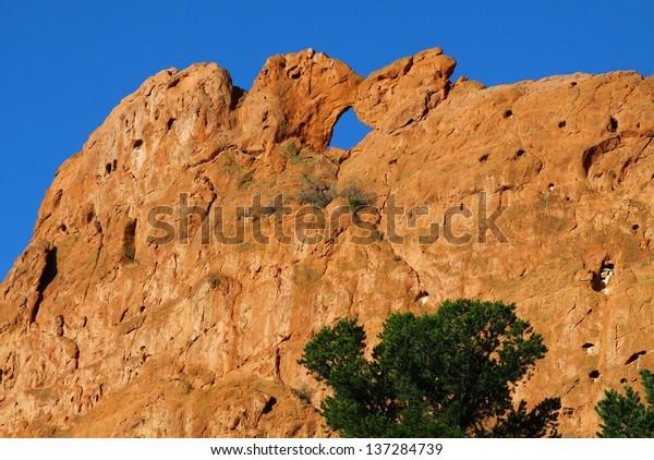 Garden Gods Colorado Springs Kissing Camels Stock Photo