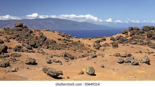Garden of the Gods (Keahiakawelo) - Island of Lanai, Hawaii - Island of Molokai on Horizon