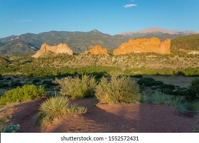Garden of the Gods National Natural Landmark in Colorado, behind Pikes Peak, USA