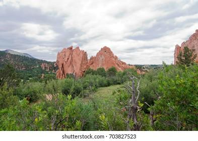 garden of the gods national natural landmark monolith and green plains landscape in colorado springs colorado