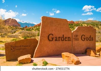 Garden of the Gods Park Entrance Sign in Colorado Springs, Colorado, United States.