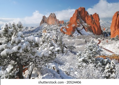 Garden of the Gods Park near Colorado Springs, Colorado taken from the top of white rock ridge after a snow