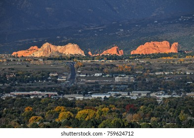 Garden of the Gods Park as seen from Palmer Park Colorado Springs Colorado