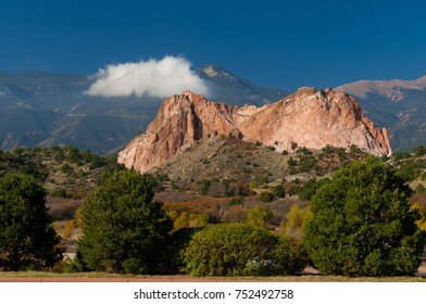 Garden of the Gods rock formation with cloud Colorado Springs Colorado