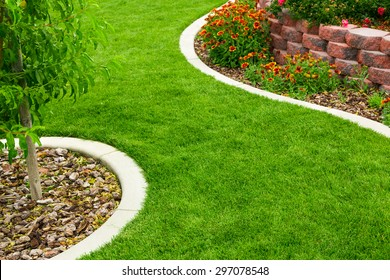Garden with green grass and flowers