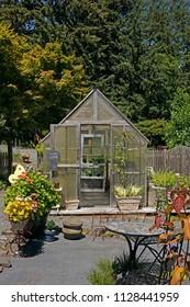 garden with green house