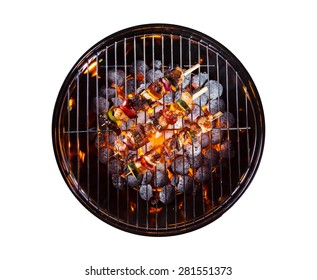 Garden grill with skewers, isolated on white background