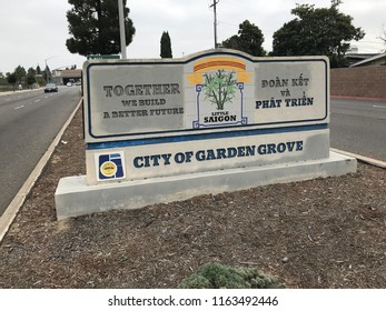 Garden Grove, California, United States - August 24, 2018. Sign for the entrance to the city of Garden Grove, California.