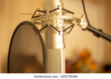 Garden Grove, California/United States - 03/25/19: A shot of a microphone and pop filter in a recording studio