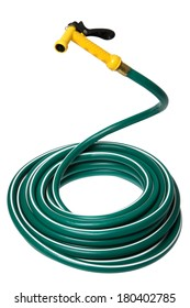 Garden Hose coiled with yellow handle