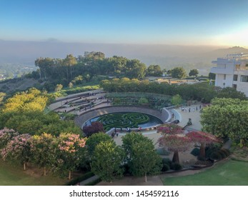 Garden inside The Getty Center museum in Los Angeles, California, USA, designed by architect Richard Meier. Famous tourist attraction. The J. Paul Getty Museum, art museum. 07/13/2019